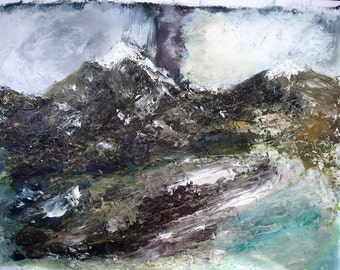 Original Oil Painting, High Mountains, Atmospheric