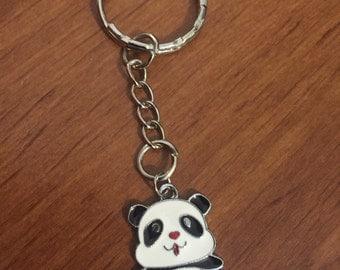 Cute Panda Antique Silver Keychain