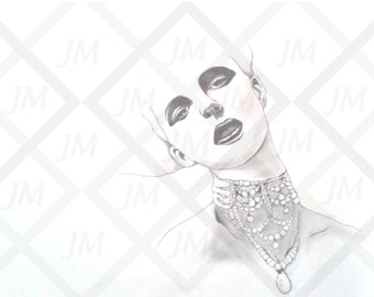 Portrait woman necklaces black and white