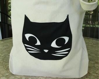 Cat Handbag, Canvas Tote Bag, Tote Bag, Cat Bag