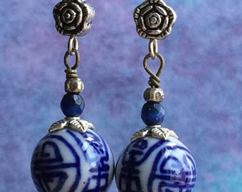 Blue and White Chinese Bead Earrings