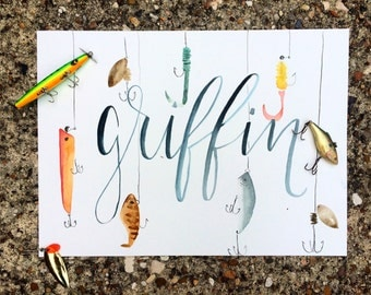 Little Angler Fishing Lure Watercolor