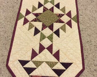 """Beige, Maroon and Sage Green Basket Table Runner Approx 14"""" x 35"""""""