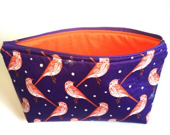 Jumbo Make-up and Toiletries Case Orange and Purple Birds and Bees