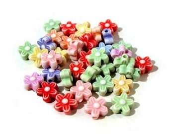 Plastic beads Flowers about 38pc in packing, Flower Shaped Coloured, Plastic Beads