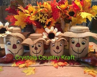 Scarecrow family,fall decor, mom, dad, girls and boys, Create your own scarecrow family mason jar set!  Autumn decor set