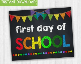 First Day Of School | Grade School Signs, Starting School, First Year Of School, Back To School Signs, Chalkboard School Signs