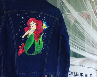 The little mermaid denim jacket (handpainted)