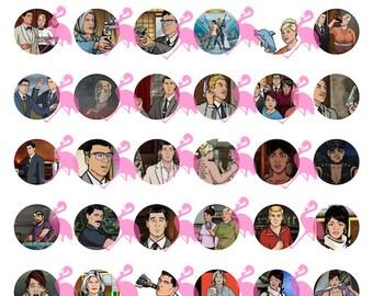 "Archer Digital 8.5x11"" Collage, 1"" Circles, 42 images"