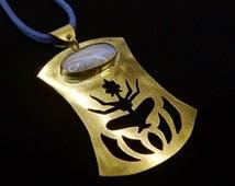 Moon stone indian pendant, necklace Goddess Lakshmi