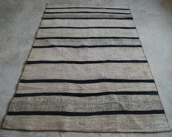 Black Striped Kilim Rug , Modern Patchwork Rug ,