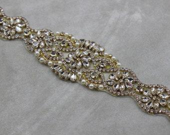 Gold applique trim, Bridal Applique, gold trim, Rhinestone trim, rhinestone applique crystal sash bridal sash headband wedding headpiece