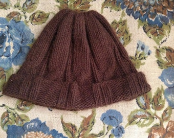 Brown Cashmere Cable Knit Hat