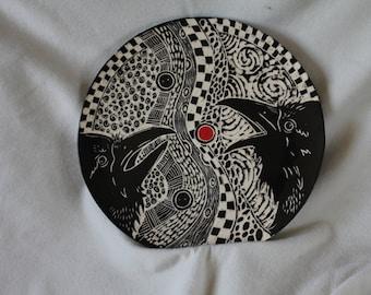 Carved Black Porcelain platter