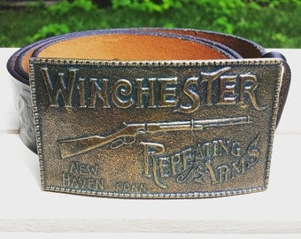 1990's Winchester buckle with belt - brass, black