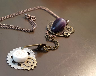 Natural Stone Steampunk Necklace (banded amethyst)