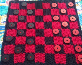 Handmade crochet checker board game