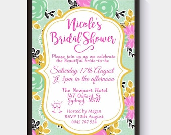 Party Invitation | Bridal Shower | Celebration | Floral | Pretty Design | Any Celebration | Personalised Invite