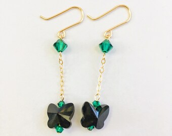 Swarovski Butterfly Earrings,Swarovski Emerald Earrings,Swarovski Jet Crystal Butterfly Beads