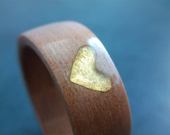 Bentwood Ring - Tasmanian Myrtle with gold leaf - Handcrafted