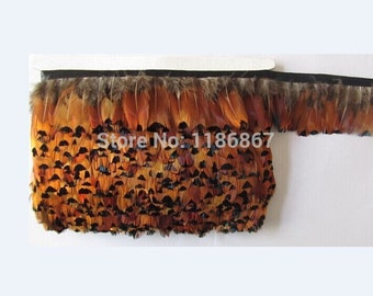 Free Shipping!10Yards/lot Height approx 6.0cm Natural Golden Brown Colour Ringneck pheasant plumage featehr fringe Boa
