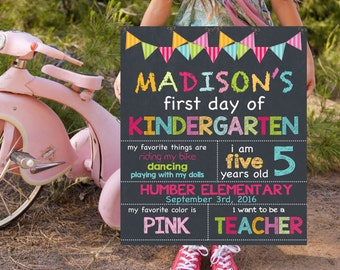 First Day Of Kindergarten Sign | Back To School Chalkboard Signs | Printable