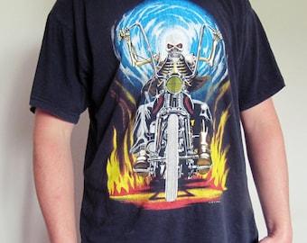 vintage rare biker t-shirt - nightrider - oversized retro - graphic tshirt