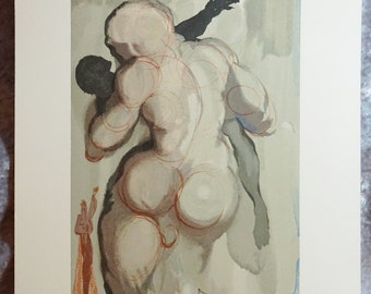 1963 Salvador Dali,  Purgatory VI,  Original Vintage, Woodblock Engraving,  Vintage Art, Vintage Woodblock, Fine Art
