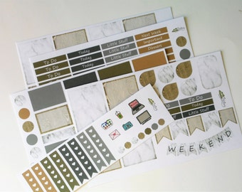 Planner Sticker Wood & Marble 5 page kit