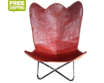 leather butterfly chair etsy au. Black Bedroom Furniture Sets. Home Design Ideas