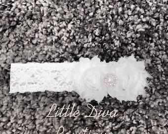 white flower baby headband