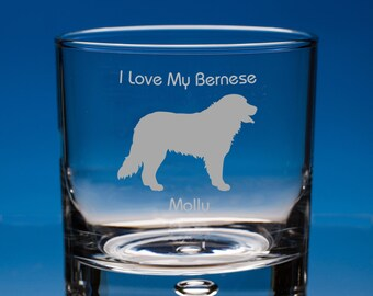Bernese Mountain Dog Lover Gift Engraved Whisky Glass Personalised with Your Name and Message - Birthday Gift, Christmas Gift