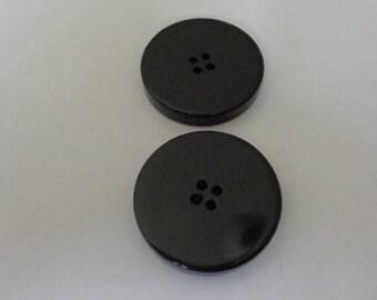 2 Large Vintage Black Buttons Black Buttons Vintage Big Buttons Vintage Buttons Shop Four Hole Buttons Black