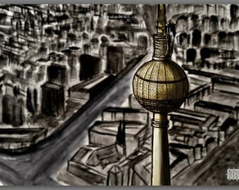 Berlin Tower Handmade drawing Print, A1 Print, Charcoal and pencil, Berlin Fernsehturm, City drawing from the sky