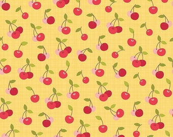 Farm Girl Cherry Pie Yellow by October Afternoon for Riley Blake