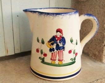 FRENCH BRETON POTTERY, vintage french, french pottery, french pitchers, flower vases