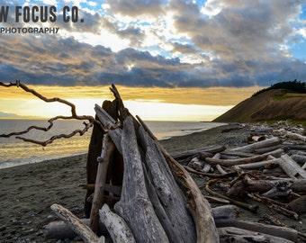Driftwood Art - Ebey's Landing, Rustic Landscape Photography, Fine Art Photography, Landscape Print
