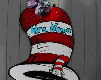 Ready to personalize Teacher Door Sign Dr. Seuss-Kids room door sign-Classroom Door Sign-Teacher sign Cat in the hat