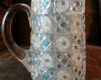 Hand Painted Glass Creamer Pitcher