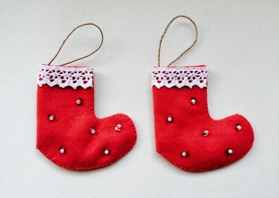 Mini Red Felt Christmas Stocking - Christmas Tree Decoration - Handmade