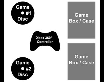 Xbox 360 Deep NerdFrame - Choose Your own Background Color, Two Xbox 360 Video Game Titles, and one Xbox 360 Controller