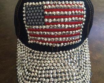 Gorgeous & Jeweled Patriotic Cap