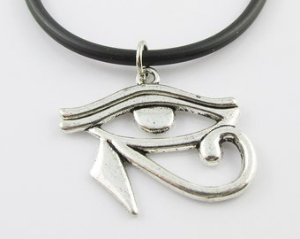 Egyptian Eye of Horus Charm Choker Necklace Black Cord
