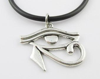 Egyptian Eye of Horus Charm Choker Necklace Black Cord 45cm