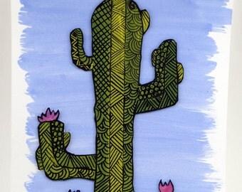 Cactus drawing Zentangle