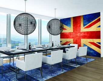 Photo Wallpaper Wall Mural for Dining Room, Bedroom Decor, Living Room Decor, Office - Vintage Union Jack Room Wall Mural Large