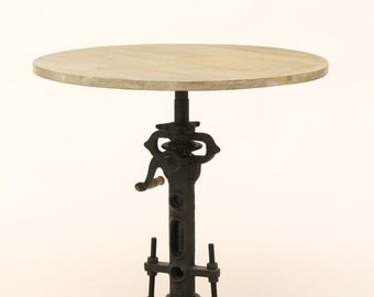 Round Rustic Adjustable Crank Table