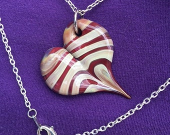 Heart Pendant with chain. (Flame work)