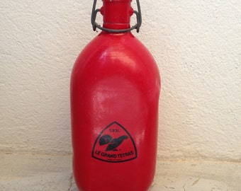 Vintage french metal-alu RED FLASK : LE grand tetras 1,33l