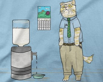 Funny Illustrated Cat Shirt - Monday TShirt - Office cat t-shirt - Business Casual - 16 colors -